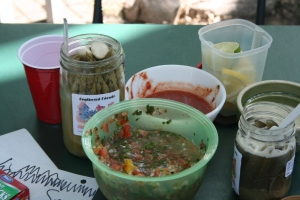 pickled asparagus, Ani's famous salsa, drink garnishes